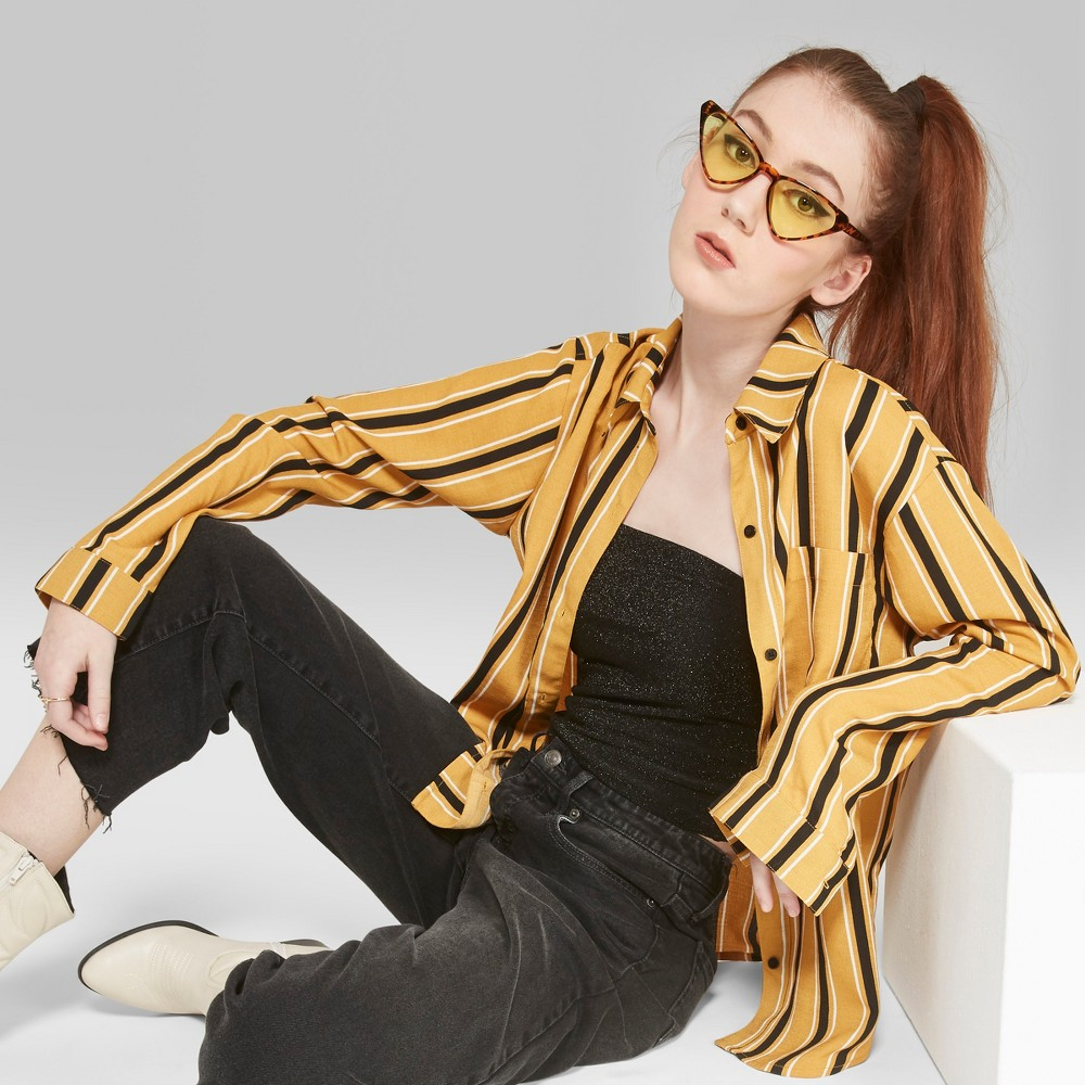Women's Striped Long Sleeve Tie Front Button-Down Shirt - Wild Fable Mustard (Yellow) M