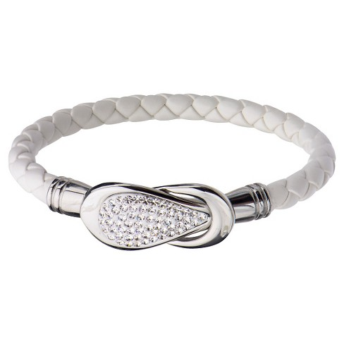 "Women's Steel Art White Italian Leather Bracelet with Preciosa Crystals Magnetic Closure (7.25"") - image 1 of 1"