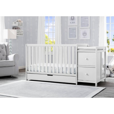 Delta Children Heartland 4-in-1 Convertible Crib and Changer with Drawer - Bianca White