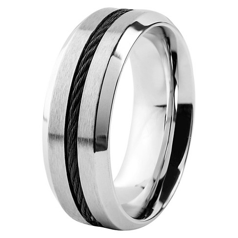 Men's West Coast Jewelry Stainless Steel with Blacktone Cable Inlay Comfort Fit Ring - image 1 of 3