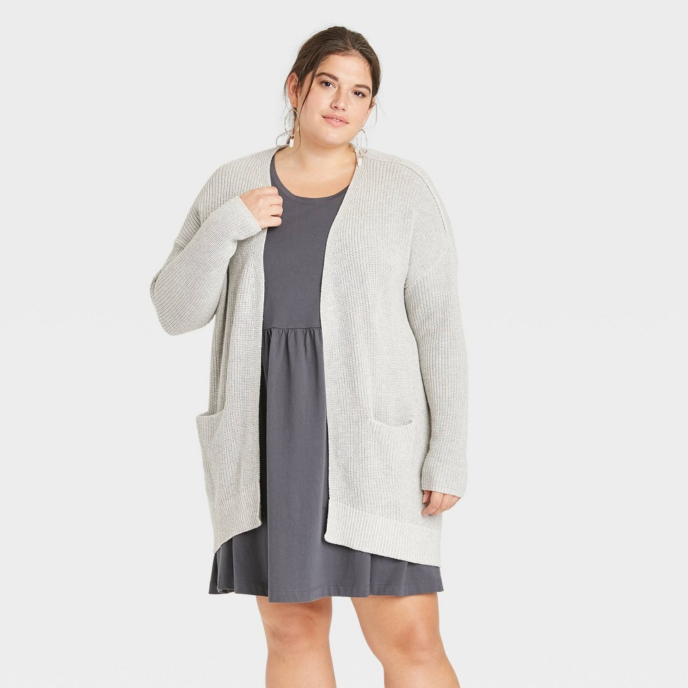 Women 39 S Plus Size Cardigan Universal Thread 8482 Light Gray 1x