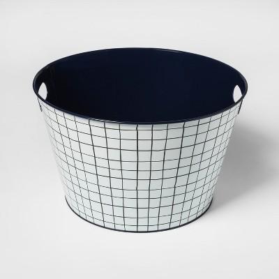 Steel Beverage Storage Tub Small Navy Grid - Room Essentials™