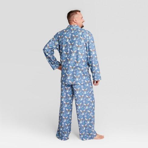 6119ccc9a0 Nite Nite Munki Munki Men s Holiday Moose Notch Collar Pajama Set - Blue 2XL    Target