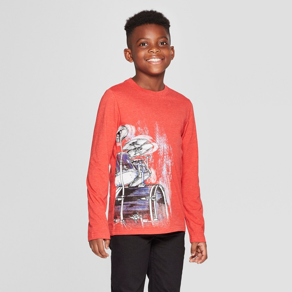 Boys' Long Sleeve Drums Graphic T-Shirt - Cat & Jack Red Xxl