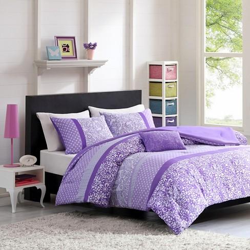 angela polka dot floral comforter set purple target. Black Bedroom Furniture Sets. Home Design Ideas