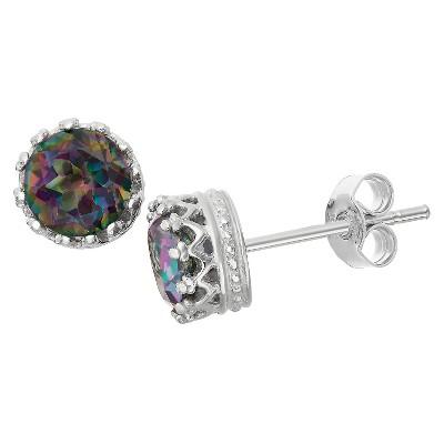 6mm Round-cut Rainbow Topaz Crown Stud Earrings in Sterling Silver