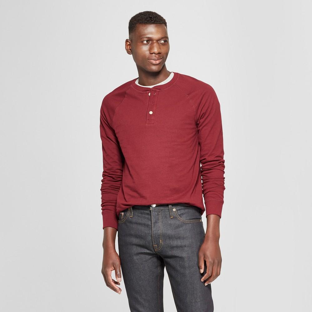 Men's Standard Fit Long Sleeve Jersey Henley Shirt - Goodfellow & Co Berry Cobbler 2XL