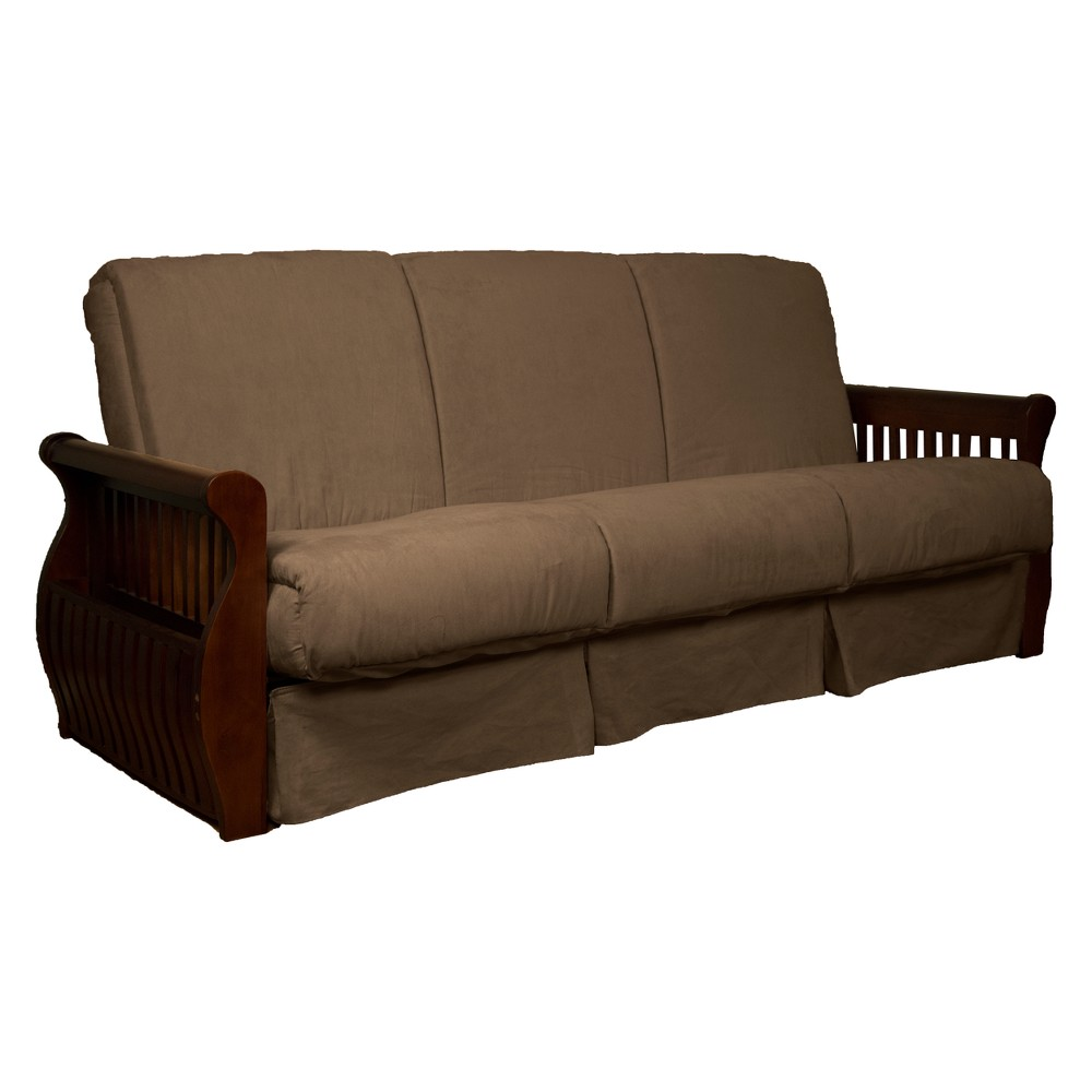 Astonishing Storage Arm Perfect Futon Sofa Sleeper Walnut Wood Finish Creativecarmelina Interior Chair Design Creativecarmelinacom