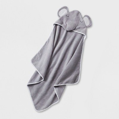 Baby Elephant Hooded Towel - Cloud Island™ Gray