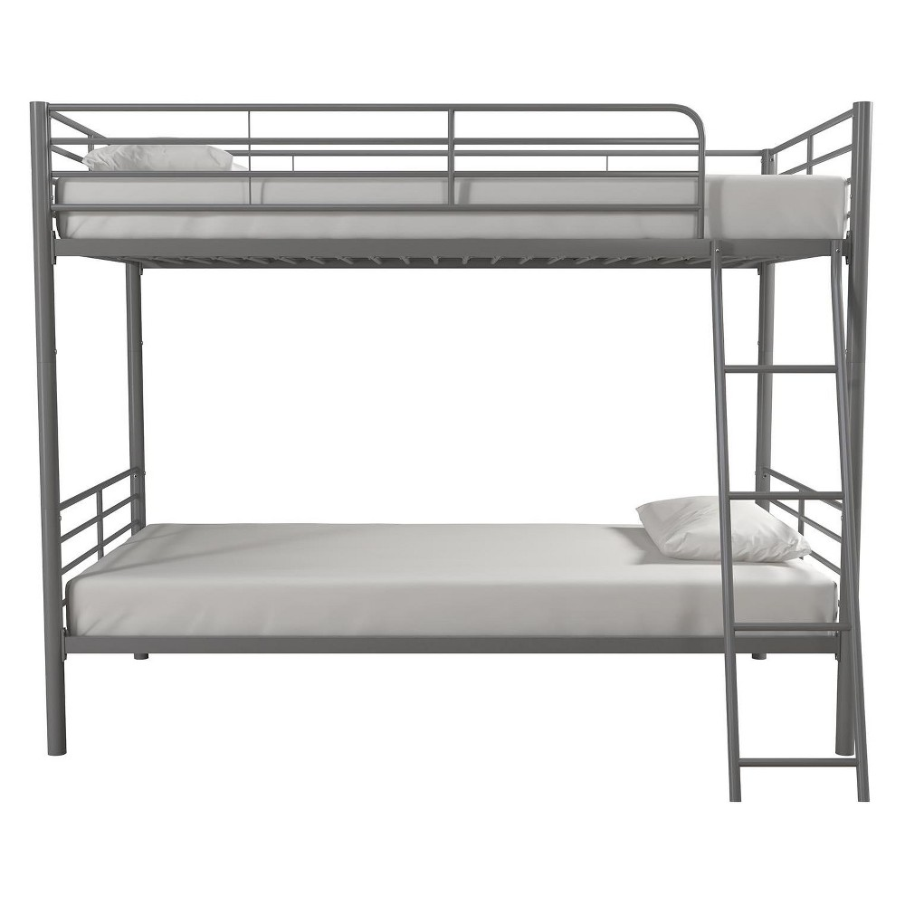 Room & Joy Convertible Twin Over Twin Metal Bunk Bed Silver