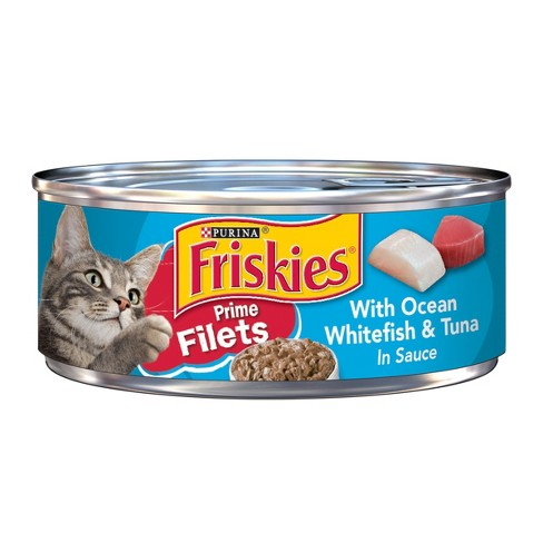 Purina® Friskies Prime Filets with Ocean Whitefish & Tuna in Sauce Wet Cat Food - 5.5oz can - image 1 of 3