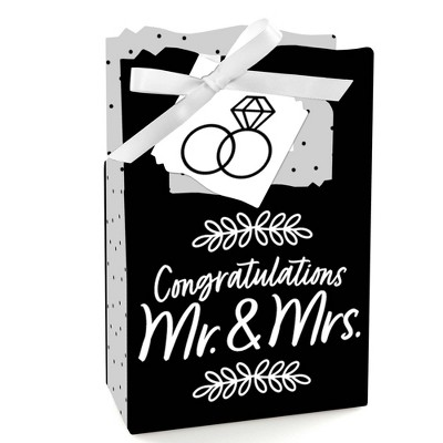 Big Dot of Happiness Mr. and Mrs. - Black and White Wedding or Bridal Shower Favor Boxes - Set of 12