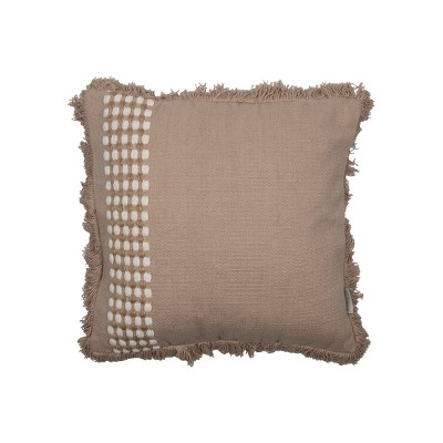 Tan Hand Woven 20 x 20 inch Decorative Cotton Throw Pillow Cover With Insert and Hand Tied Fringe - Foreside Home & Garden