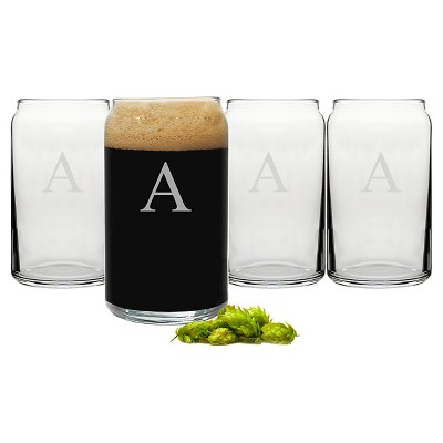 Cathy's Concepts 16 oz. Personalized Craft Beer Can Glasses (Set of 4)-A