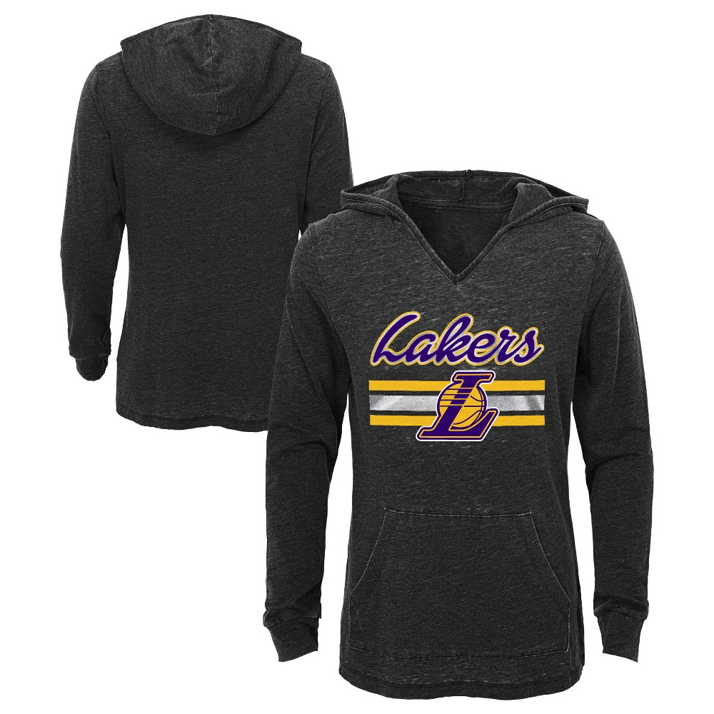 Los Angeles Lakers Girls' Top of the Key Gray Burnout Hoodie M, Multicolored