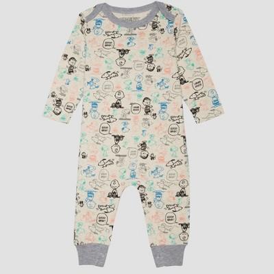 Baby Boys' Peanuts Long Sleeve Romper - Beige 3-6M