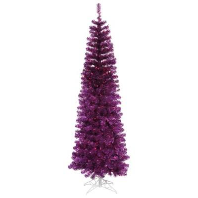 Vickerman Purple Pencil Artificial Christmas Tree