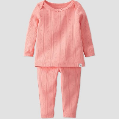 Baby Girls' 2pc Organic Cotton Lap Shoulder Top and Bottom Set - little planet by carter's Pink
