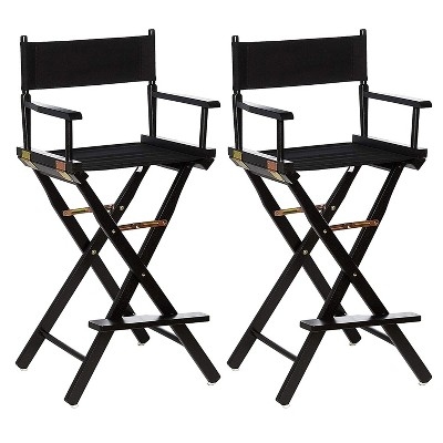 Casual Home Portable Bar Height Directors Chair with Wood Frame, Canvas Seat and Back, and Removable Footrest, Black (2 Pack)