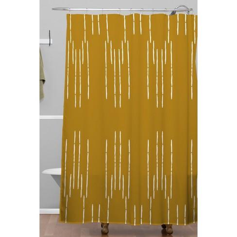 La Jardin Noir III Shower Curtain Mustard