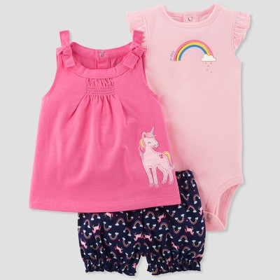 Baby Girls' 3pc Rainbow/Unicorn Set - Just One You® made by carter's Pink 9M