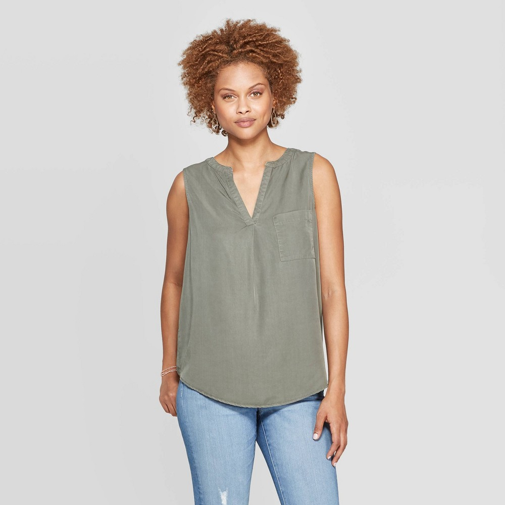 Women's V-Neck Tank Top With Lace Back - Knox Rose Green XL