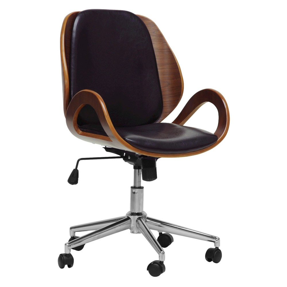 Watson Modern Office Chair Walnut/Black - Baxton Studio