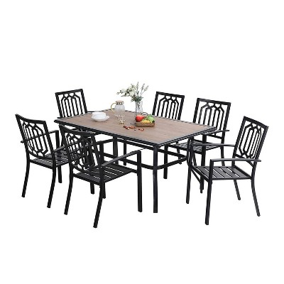 7pc Patio Dining Set with Rectangular Table with Umbrella Hole & Chairs - Captiva Designs