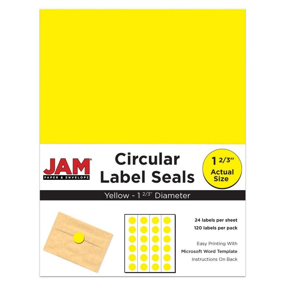 Jam Paper Circle Sticker Seals 1 2/3 120ct - Yellow