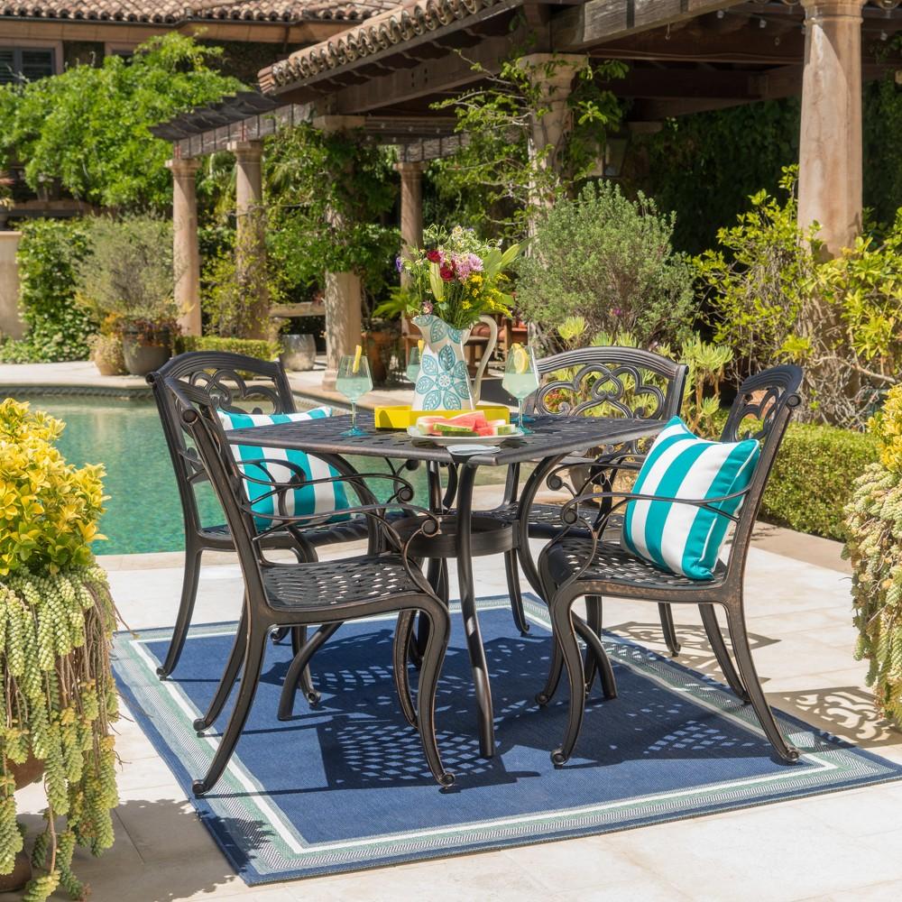 Austin 5pc Cast Aluminum Dining Set - Shiny Copper - Christopher Knight Home