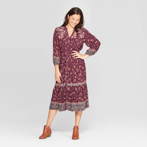 Women's Floral Print Long Sleeve V-Neck Front Button-Down Shift Midi Dress - Knox Rose™ Purple - image 1 of 2