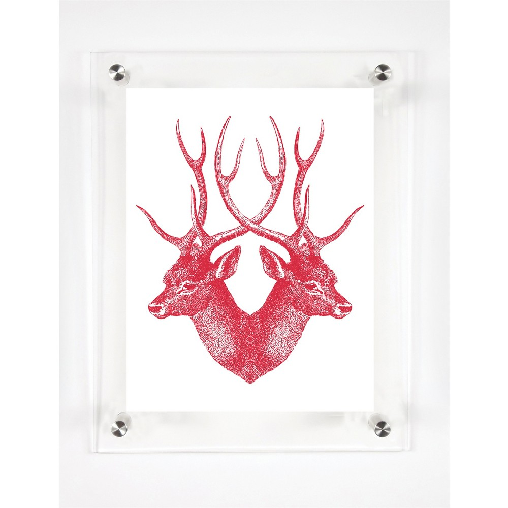 Mitchell Black Stag Decorative Framed Wall Canvas Cranberry (12