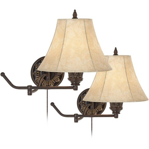 Barnes and Ivy Swing Arm Wall Lamps Set of 2 French Bronze Plug-In Light Fixture Faux Leather Shade Bedroom Living Room Reading - image 1 of 4