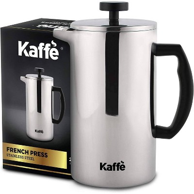 Kaffe French Press Coffee Maker. Food-Grade Double-Wall Stainless Steel