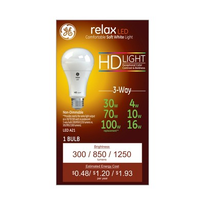 General Electric 30/70/100w Relax White Equivalent 3 way LED HD