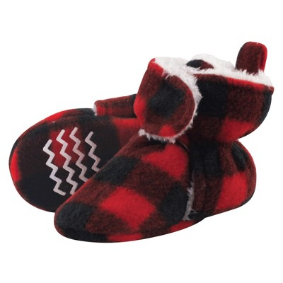 Hudson Baby Baby and Toddler Cozy Fleece and Sherpa Booties, Black Red Plaid