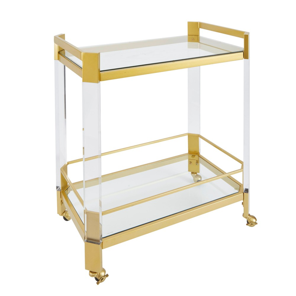 Huxley Clear Glass and Bar Cart Gold - Silverwood