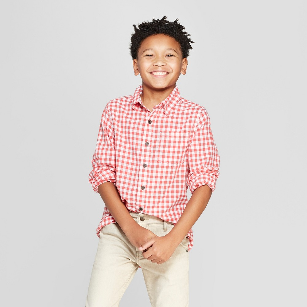 Boys' Gingham Long Sleeve Button-Down Shirt - Cat & Jack Red XL Husky, Orange