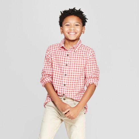 279fd2b5 Boys' Gingham Long Sleeve Button-Down Shirt - Cat & Jack™ Red : Target