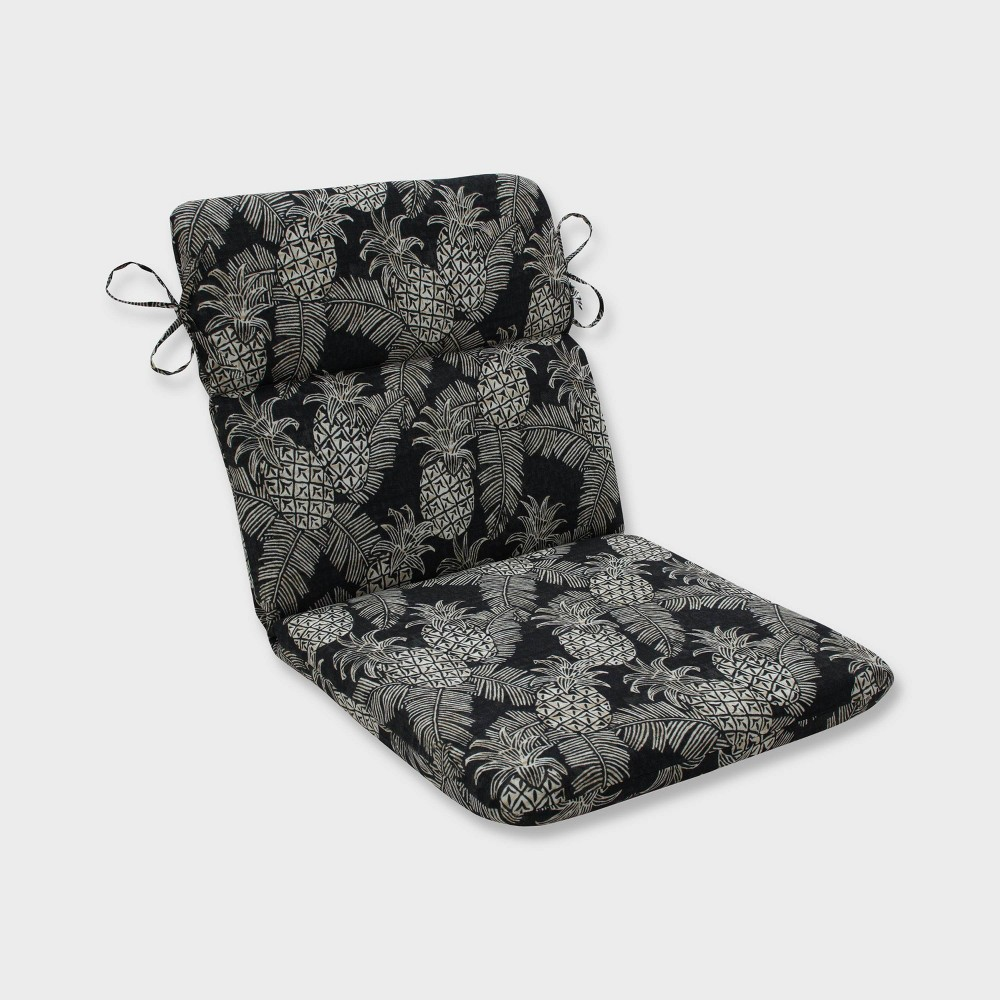 Carate Batik Noche Rounded Corners Outdoor Chair Cushion Black - Pillow Perfect