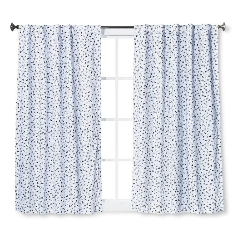 Twill Blackout Curtain Panel Arrow Print Blue (63