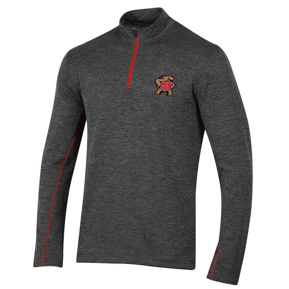 Maryland Terrapins Men's Long Sleeve Digital Textured 1/4 Zip Fleece - Gray Xxl