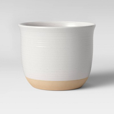 10  Stoneware Matte Speckle Glaze With Exposed Clay Planter White - Smith & Hawken™