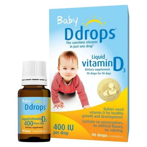 Ddrops Baby Vitamin D Liquid Drops 400 IU - 2.5ml - image 1 of 4