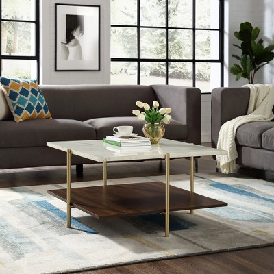 Mid Century Modern Glam Square Coffee Table Faux White Marble Dark Walnut/Gold - Saracina Home : Target