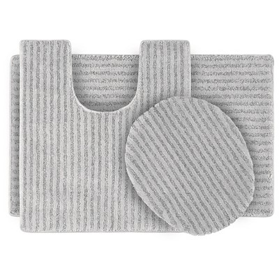 3pc Sheridan Plush Washable Nylon Bath Rug Set Platinum Gray - Garland