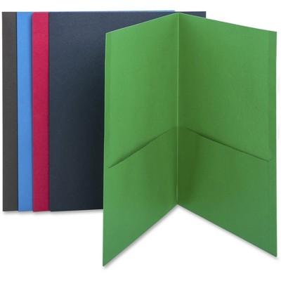 """Business Source 2-Pocket Folders 125 Sht Cap Letter 12""""x9"""" 25/BX AST 78502"""