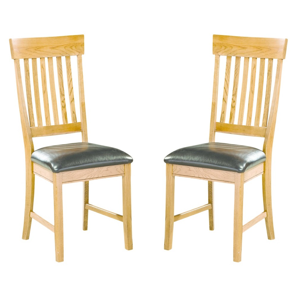 Image of Family Dining Slat Back Side Chair Chestnut Finish (Set of 2) - Intercon, Brown