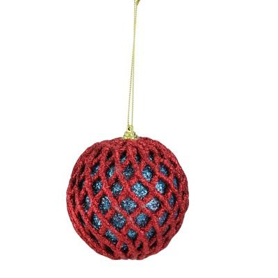 "Napco 4"" Retro Christmas Glitter Mesh Pattern Ball Christmas Ornament - Blue/Red"