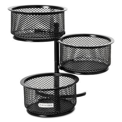 Rolodex 3 Tier Wire Mesh Swivel Tower Paper Clip Holder 3 3/4 x 6 1/2 x 6 Black 62533